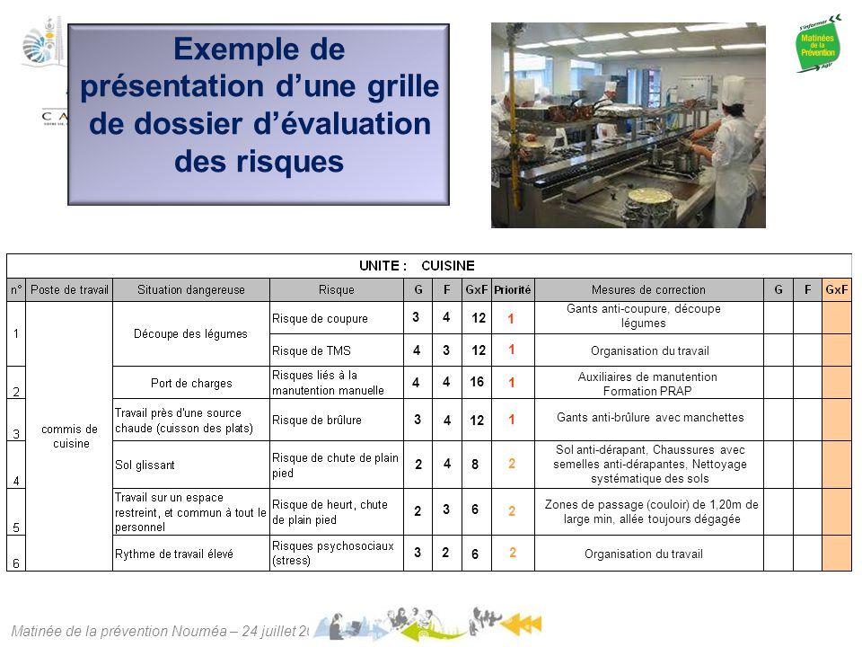 Exemple de présentation d'une grille de dossier d'évaluation des risques