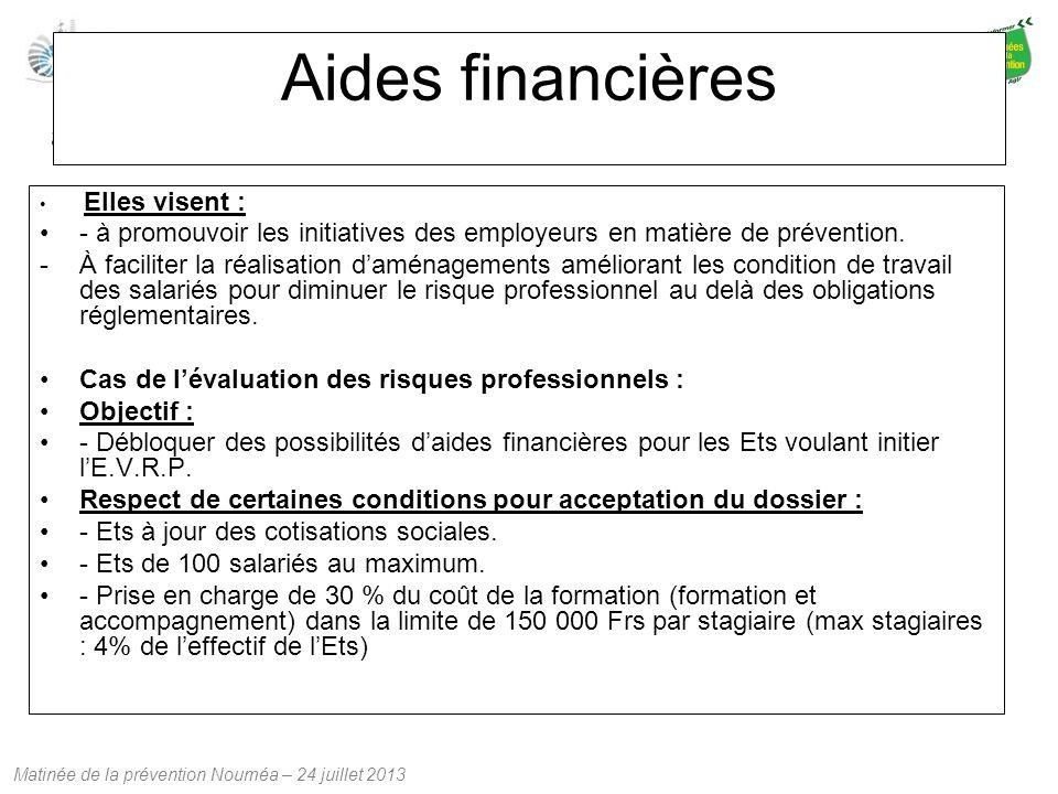Aides financières Elles visent : - à promouvoir les initiatives des employeurs en matière de prévention.