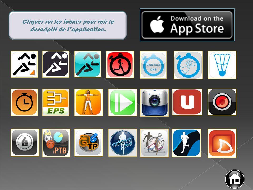 Cliquer sur les icônes pour voir le descriptif de l'application.