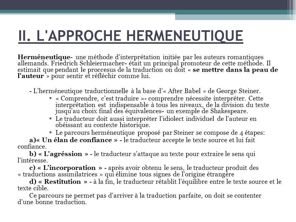 II. L APPROCHE HERMENEUTIQUE