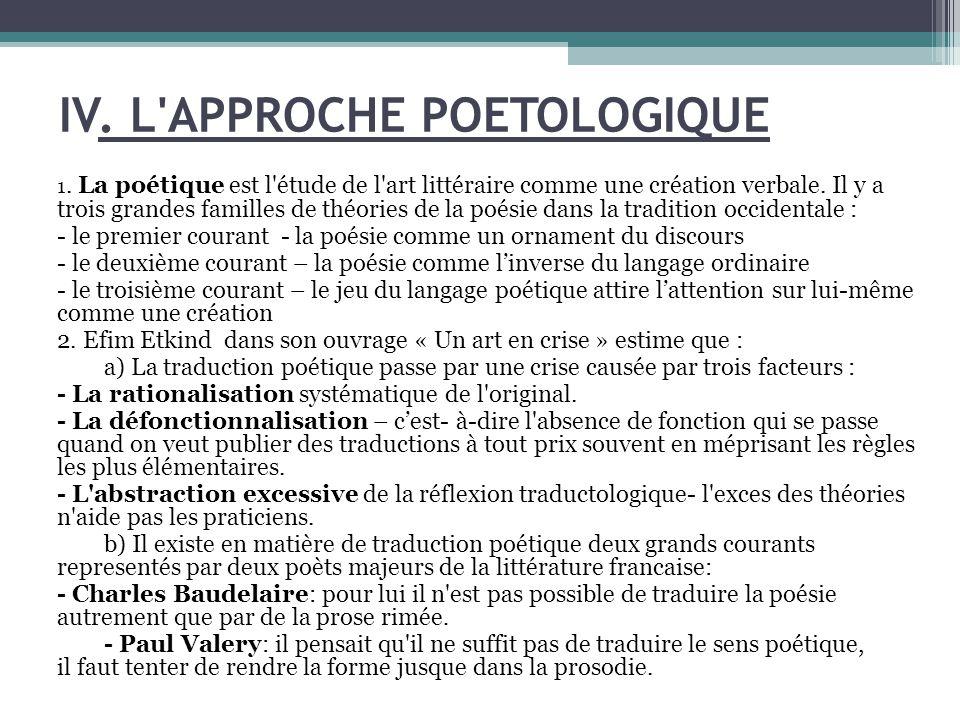 IV. L APPROCHE POETOLOGIQUE