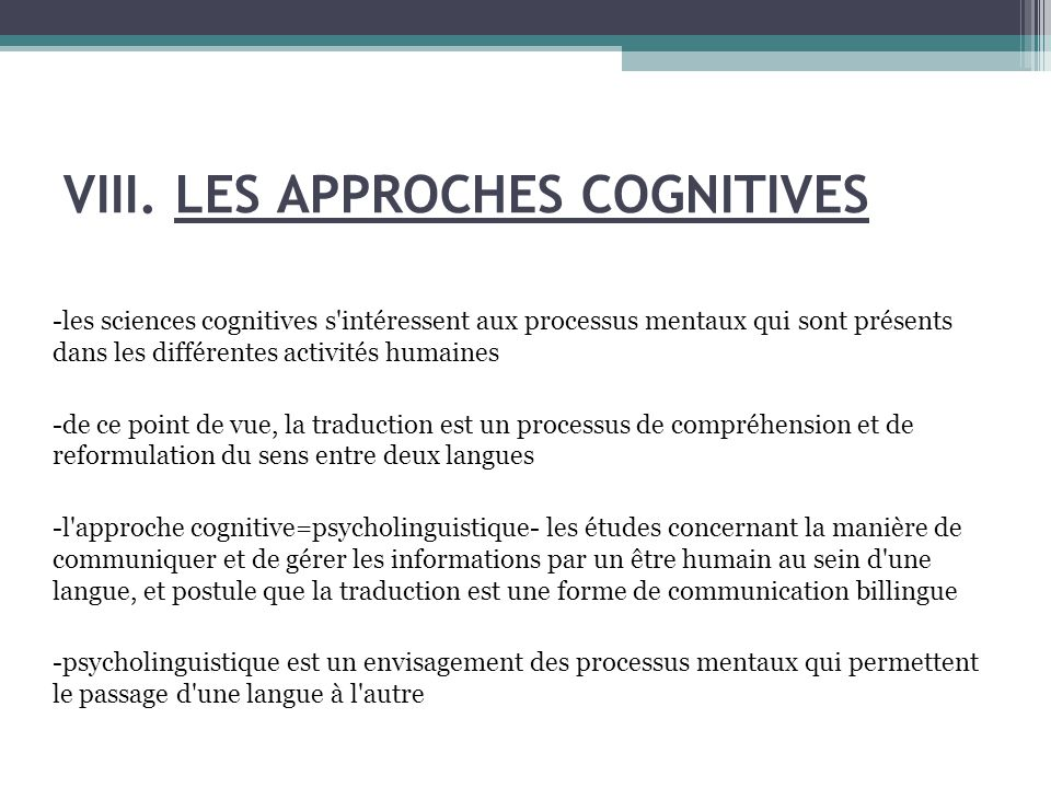 VIII. LES APPROCHES COGNITIVES