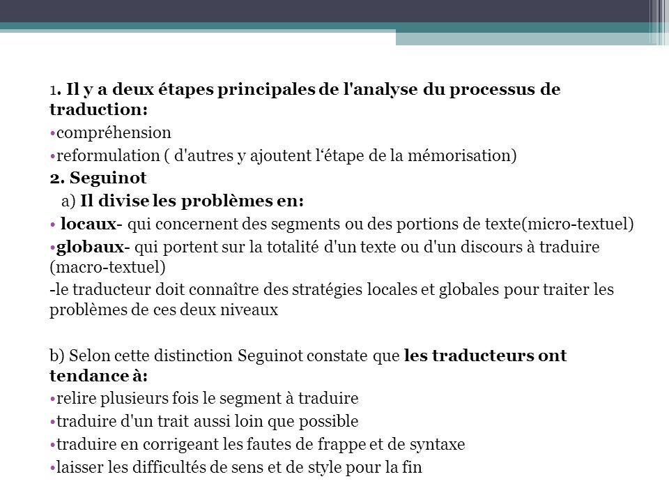 1. Il y a deux étapes principales de l analyse du processus de traduction:
