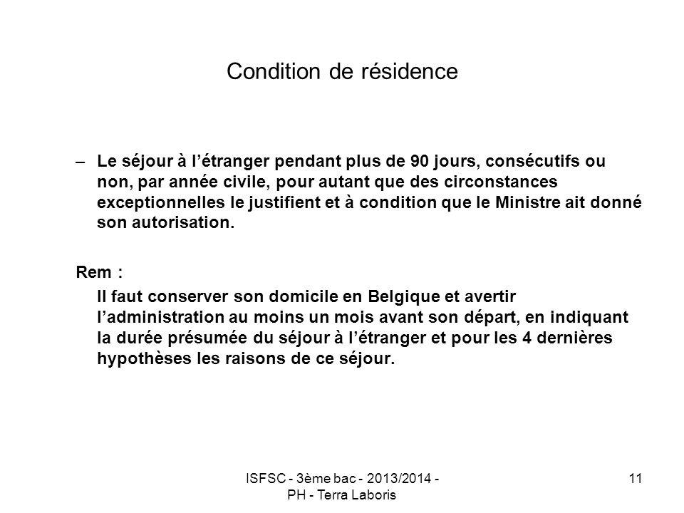 Condition de résidence