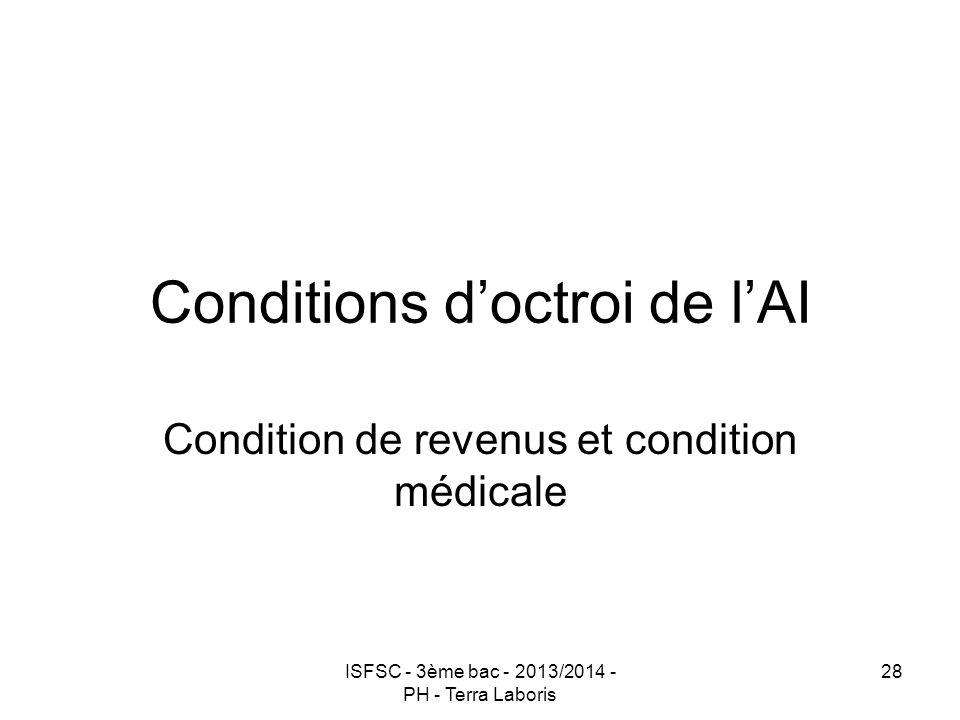 Conditions d'octroi de l'AI