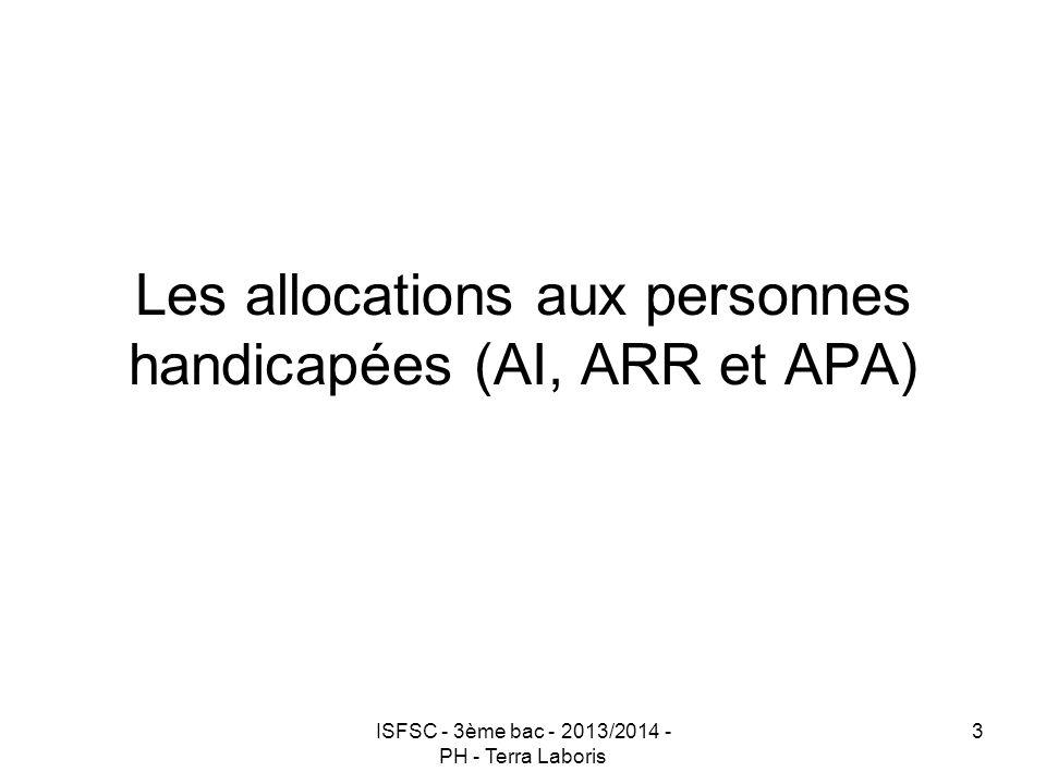 Les allocations aux personnes handicapées (AI, ARR et APA)