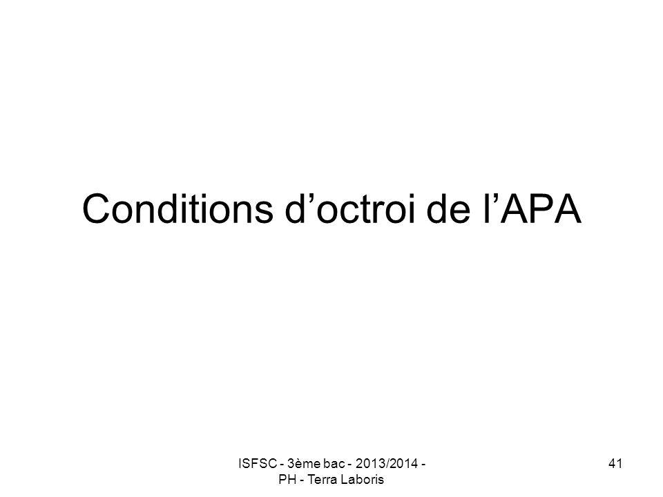 Conditions d'octroi de l'APA