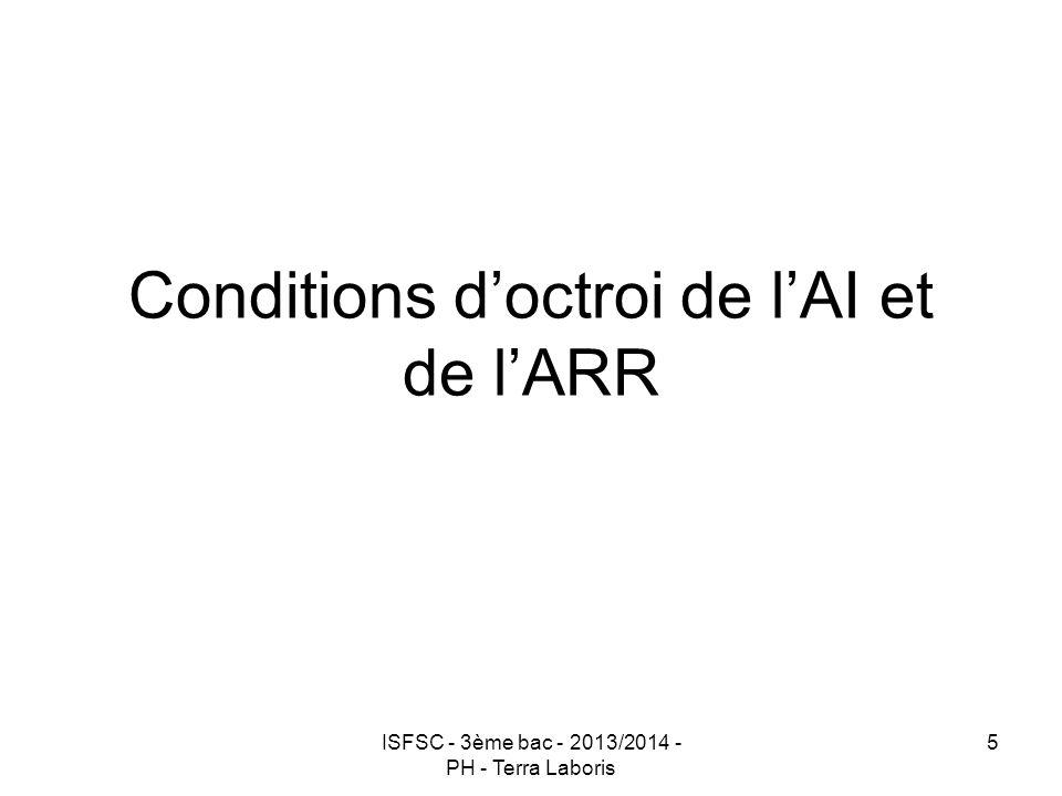 Conditions d'octroi de l'AI et de l'ARR