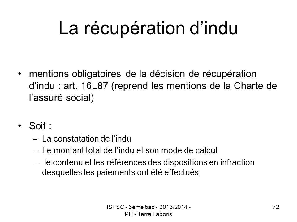 La récupération d'indu