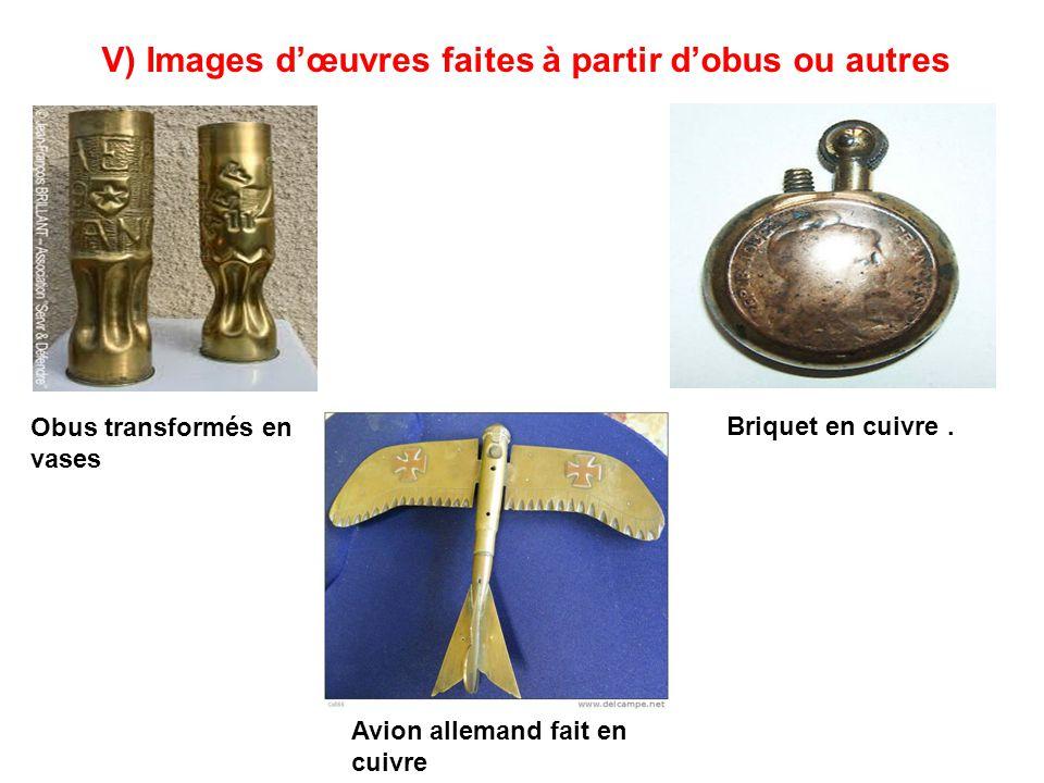 V) Images d'œuvres faites à partir d'obus ou autres
