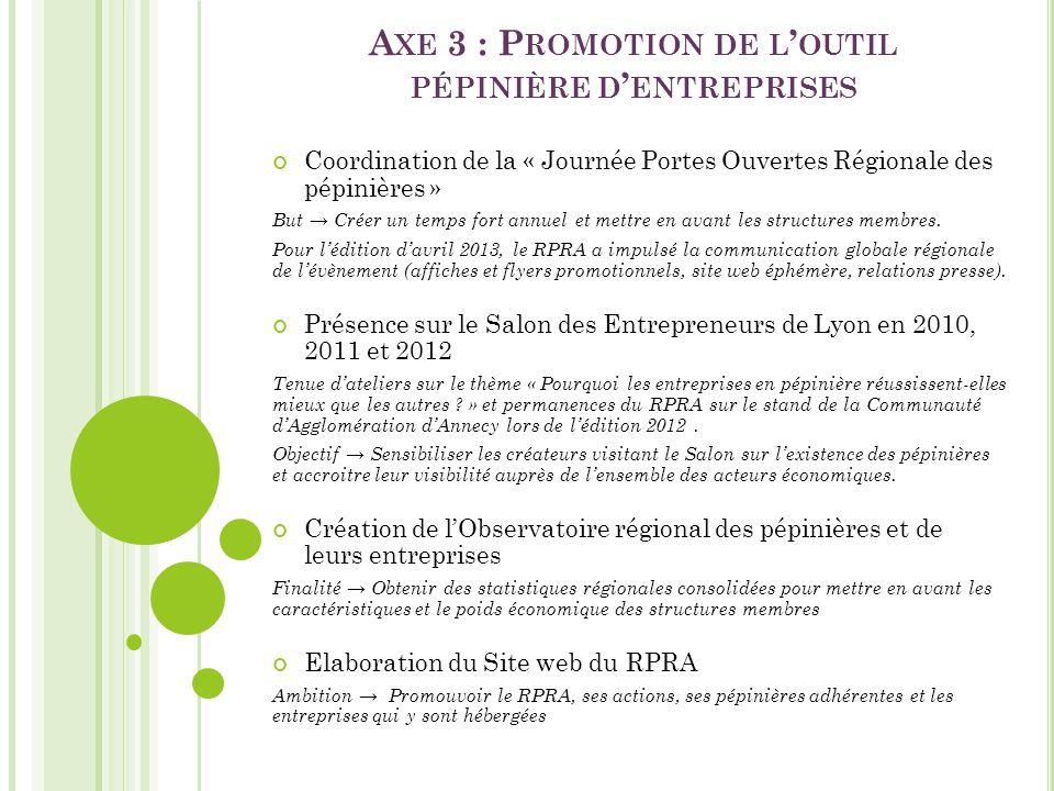 Axe 3 : Promotion de l'outil pépinière d'entreprises