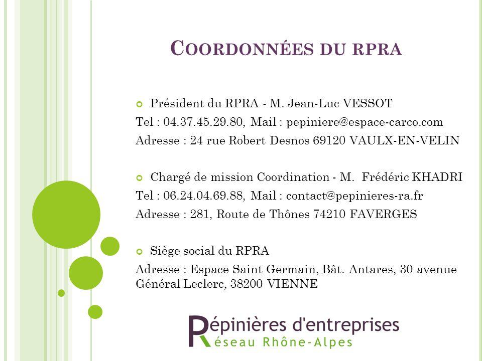 Coordonnées du rpra Président du RPRA - M. Jean-Luc VESSOT