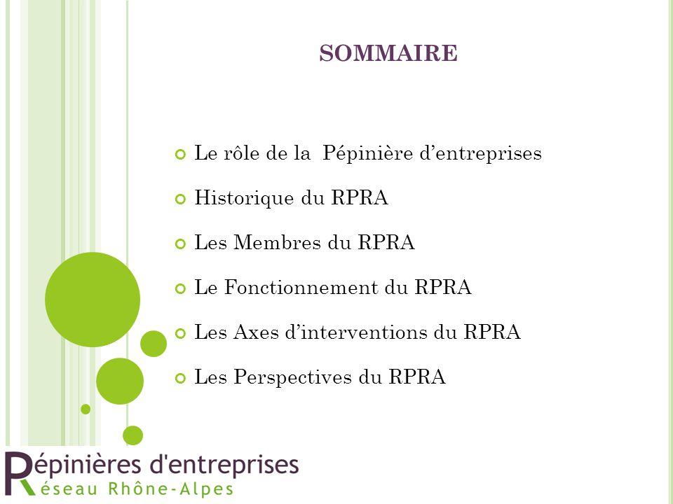 sommaire Le rôle de la Pépinière d'entreprises Historique du RPRA