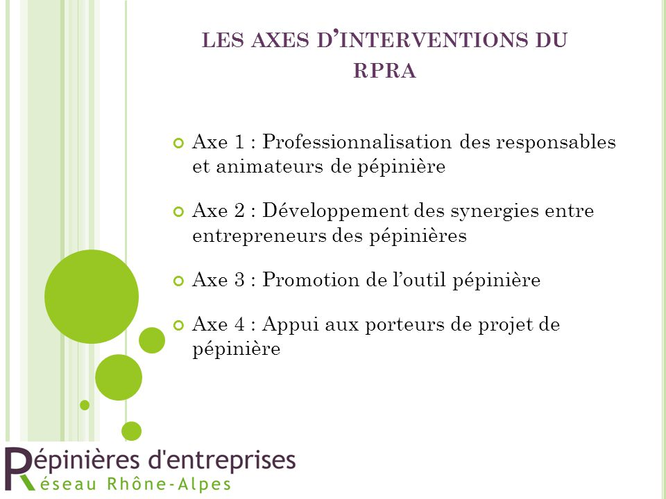 les axes d'interventions du rpra