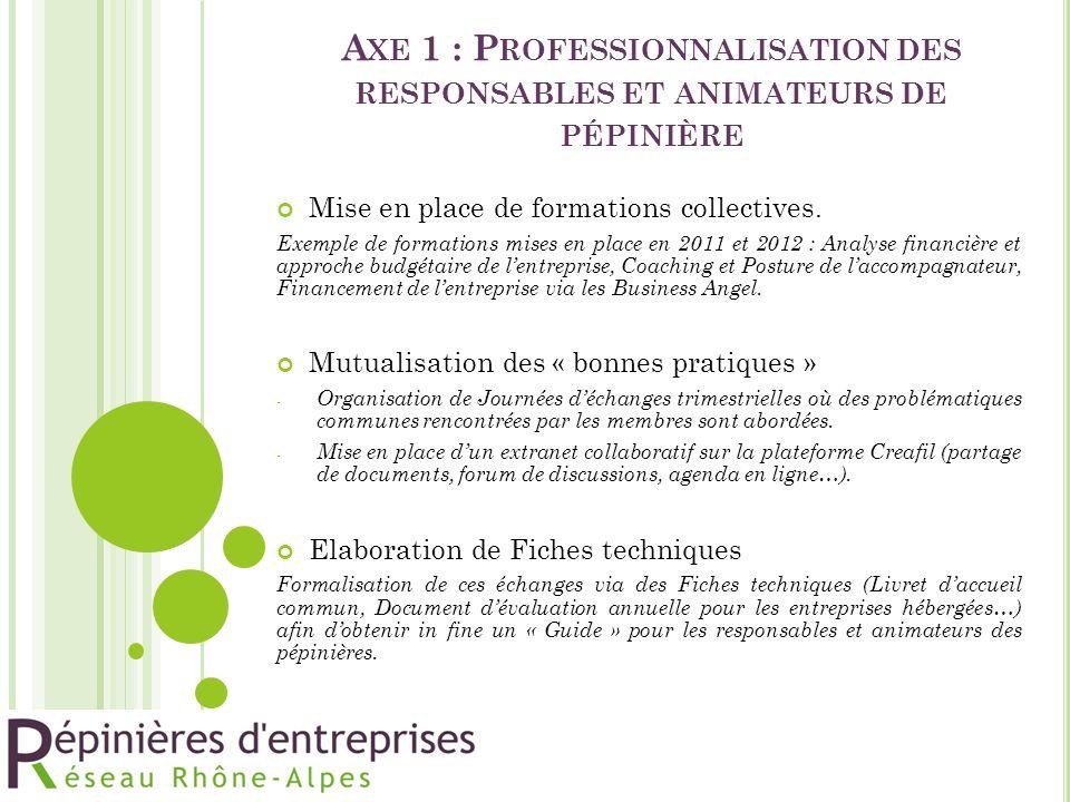 Axe 1 : Professionnalisation des responsables et animateurs de pépinière