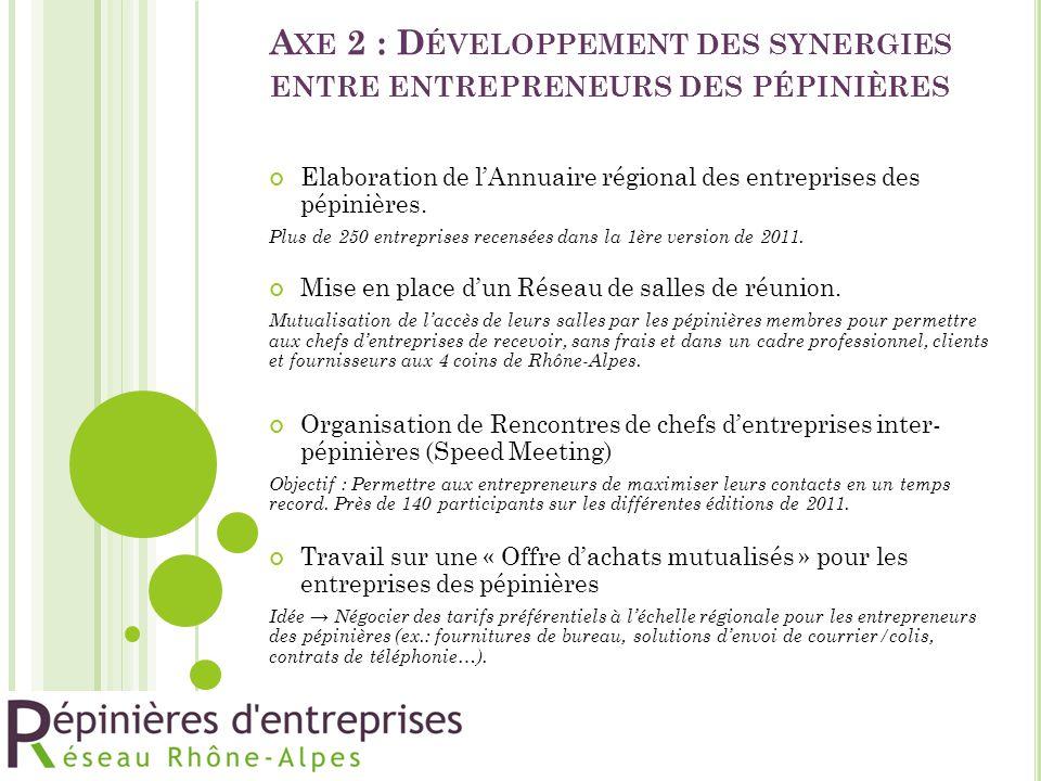 Axe 2 : Développement des synergies entre entrepreneurs des pépinières