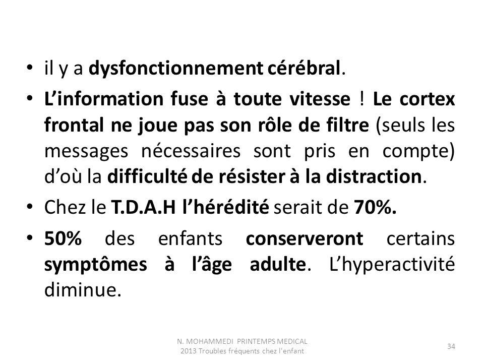 N. MOHAMMEDI PRINTEMPS MEDICAL 2013 Troubles fréquents chez l enfant