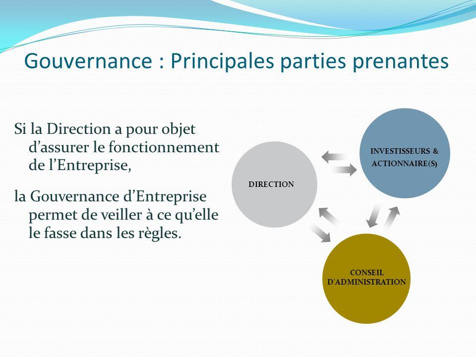 Gouvernance : Principales parties prenantes