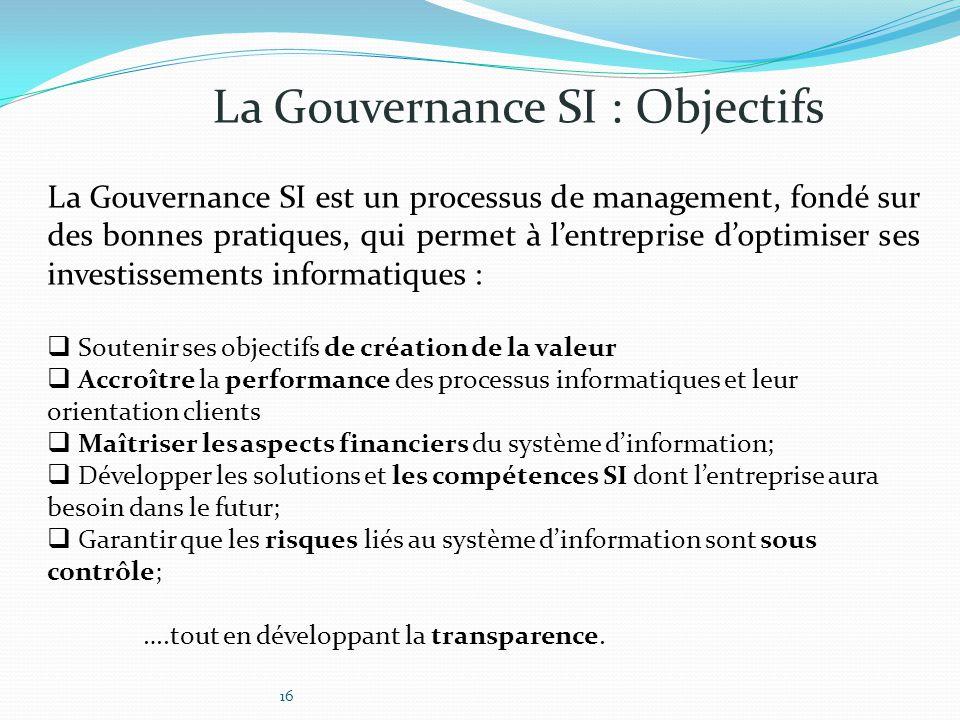 La Gouvernance SI : Objectifs