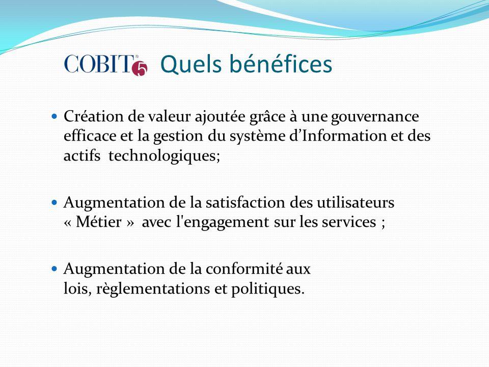 Quels bénéfices Création de valeur ajoutée grâce à une gouvernance efficace et la gestion du système d'Information et des actifs technologiques;