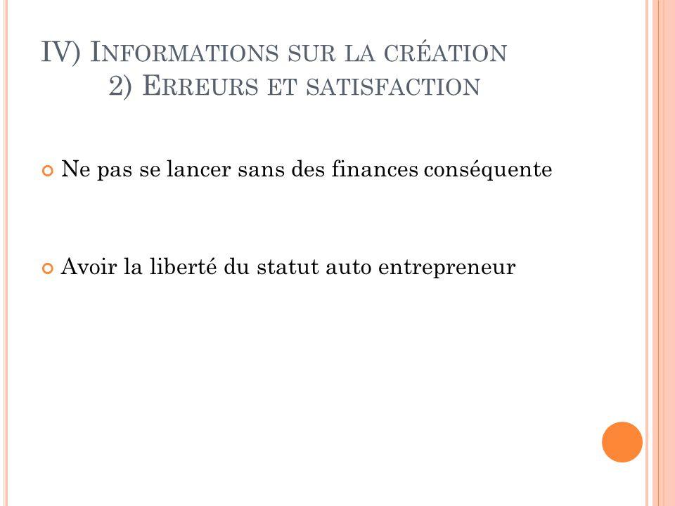 IV) Informations sur la création 2) Erreurs et satisfaction