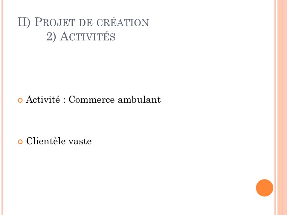 II) Projet de création 2) Activités