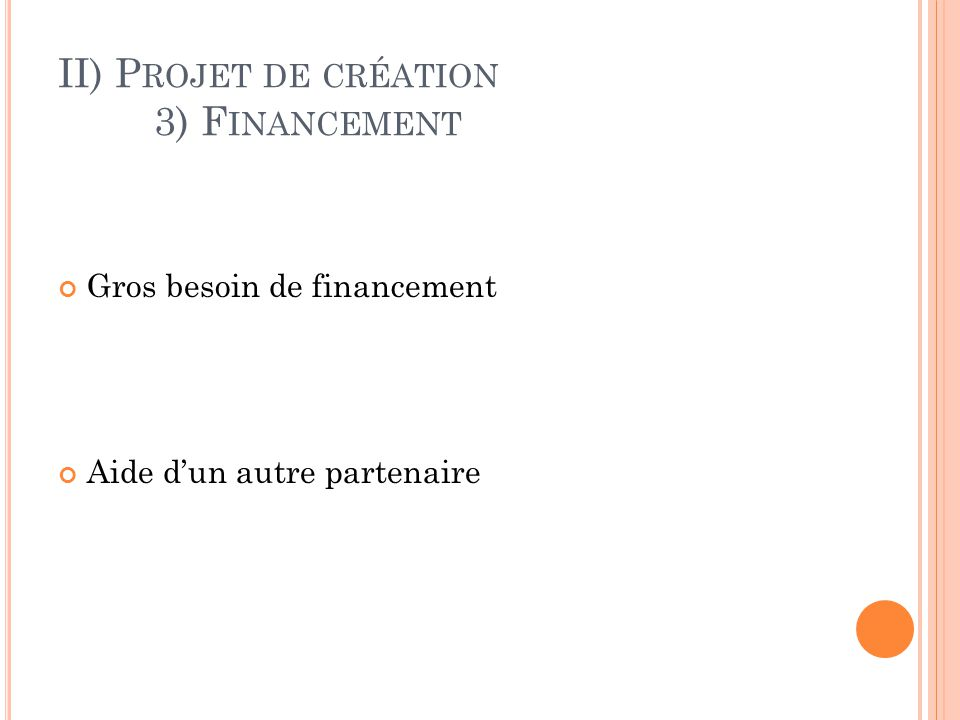 II) Projet de création 3) Financement
