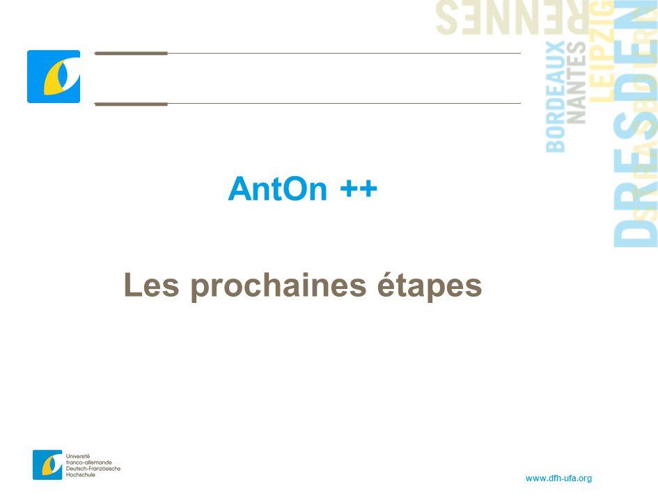 AntOn ++ Les prochaines étapes