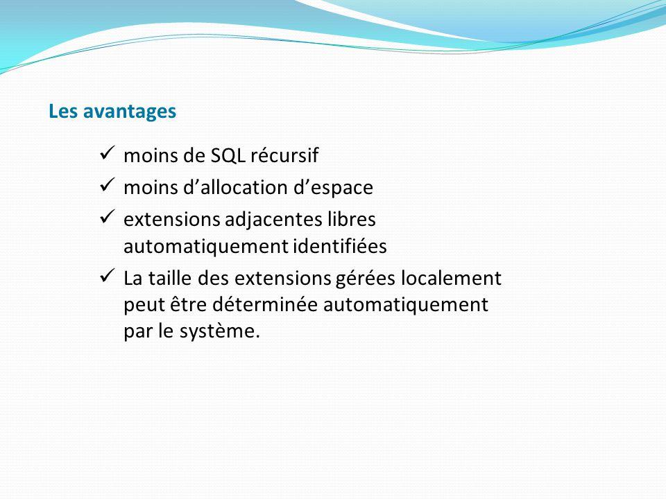 Les avantages moins de SQL récursif. moins d'allocation d'espace. extensions adjacentes libres automatiquement identifiées.