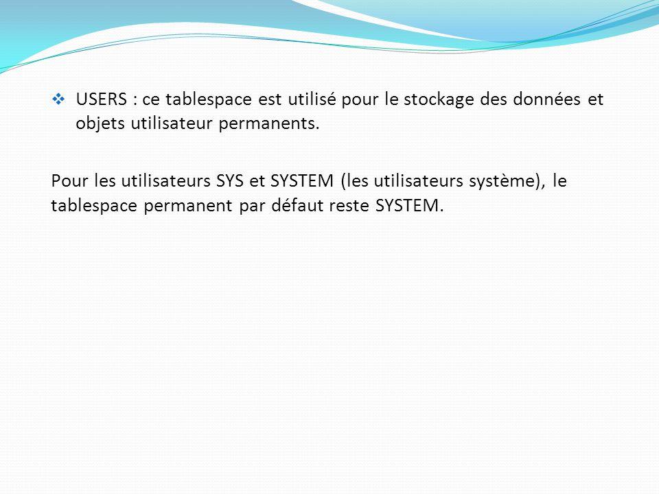 USERS : ce tablespace est utilisé pour le stockage des données et objets utilisateur permanents.