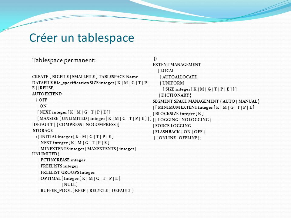 Créer un tablespace Tablespace permanent: }) EXTENT MANAGEMENT { LOCAL