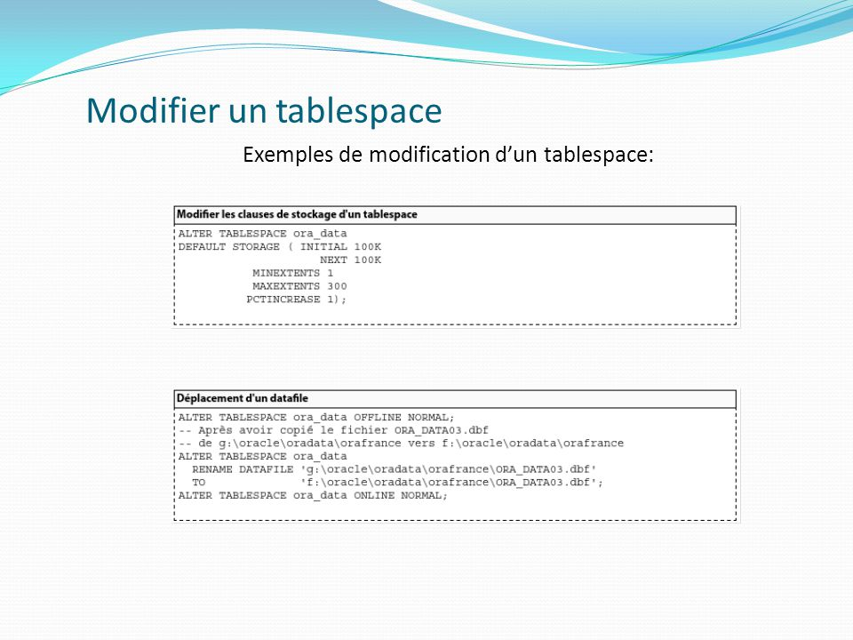 Modifier un tablespace