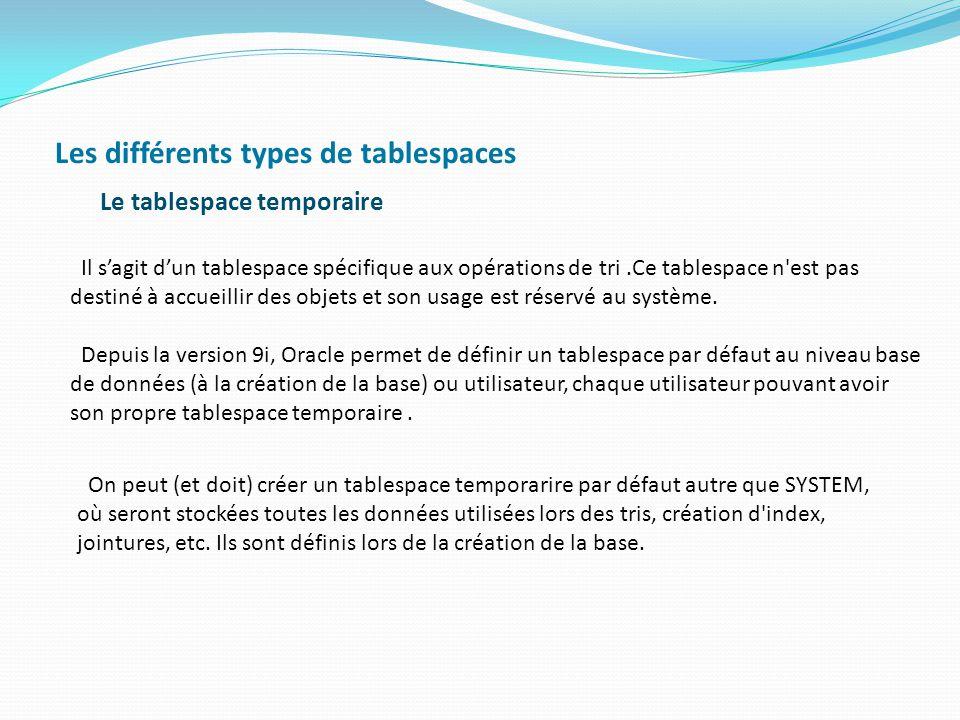 Les différents types de tablespaces