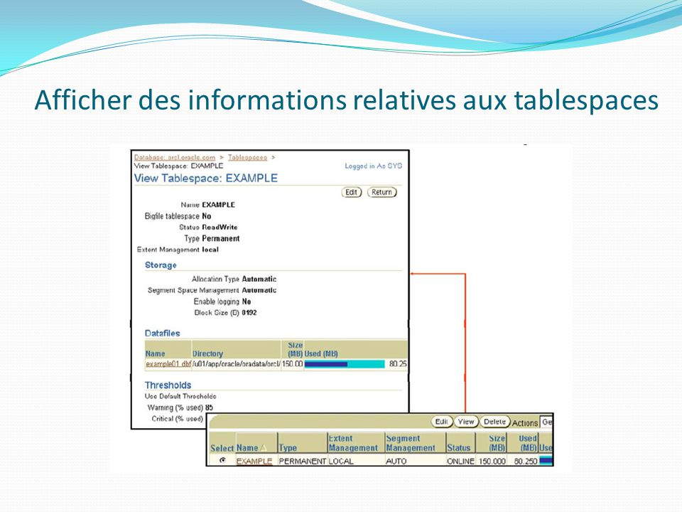 Afficher des informations relatives aux tablespaces