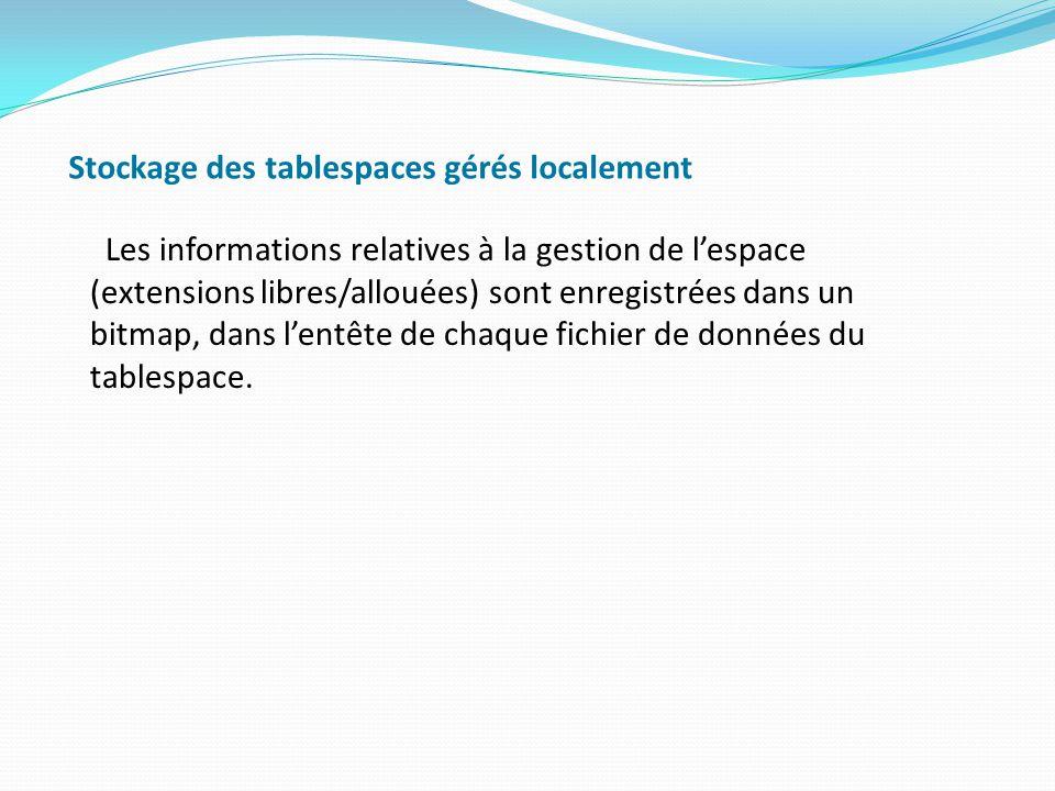 Stockage des tablespaces gérés localement