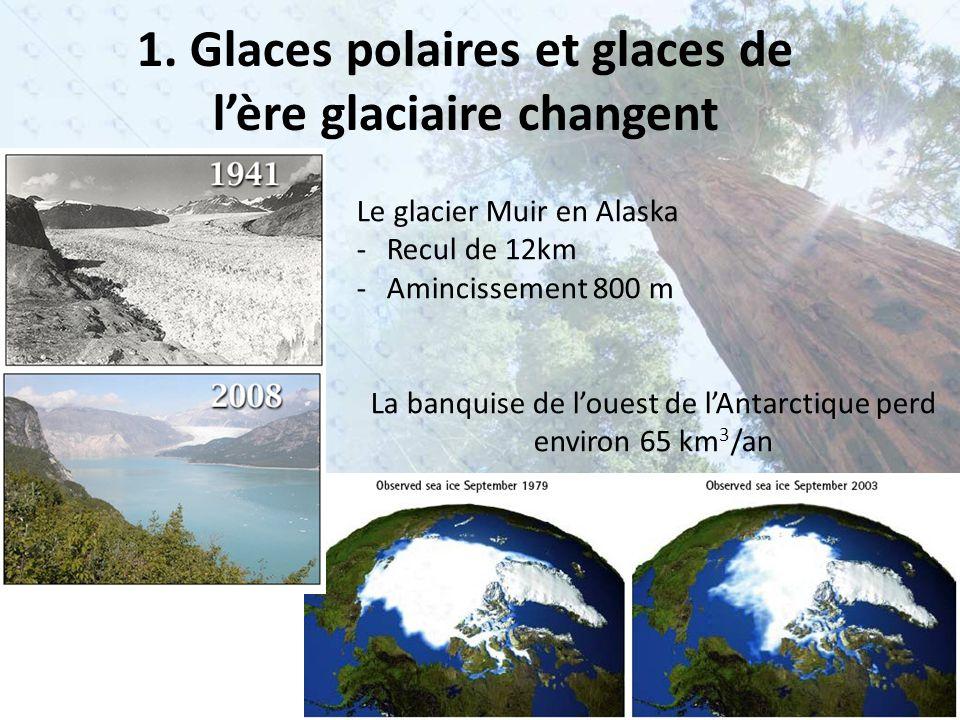 1. Glaces polaires et glaces de l'ère glaciaire changent