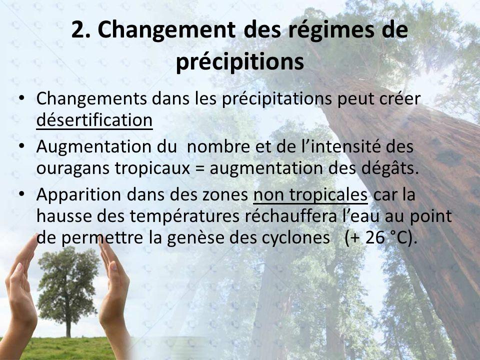 2. Changement des régimes de précipitions