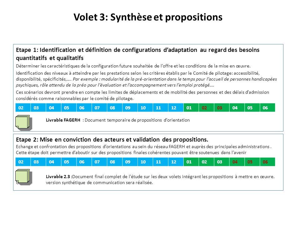 Volet 3: Synthèse et propositions