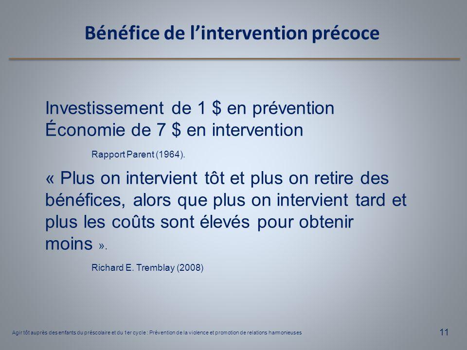 Bénéfice de l'intervention précoce