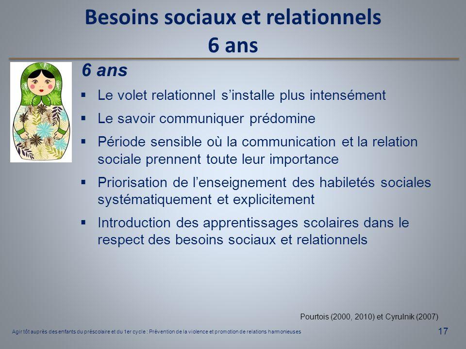 Besoins sociaux et relationnels