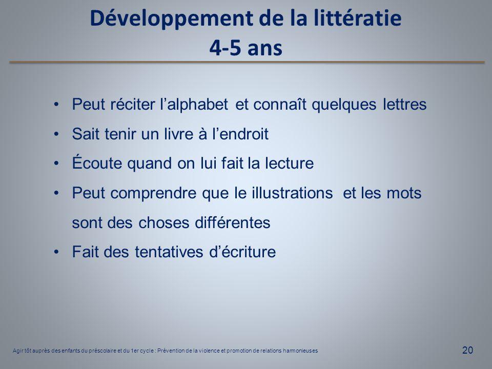 Développement de la littératie 4-5 ans