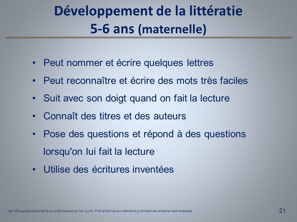 Développement de la littératie 5-6 ans (maternelle)