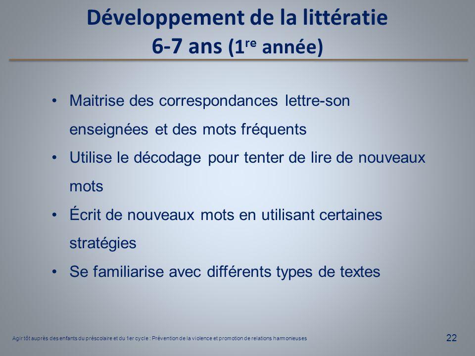 Développement de la littératie 6-7 ans (1re année)