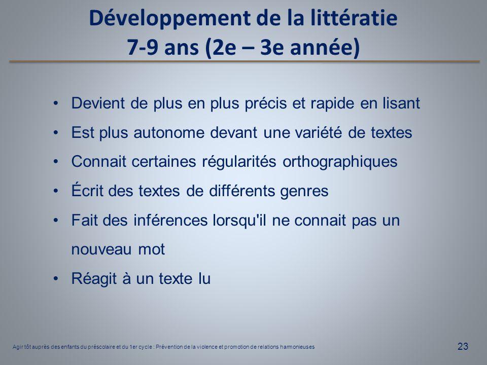 Développement de la littératie 7-9 ans (2e – 3e année)
