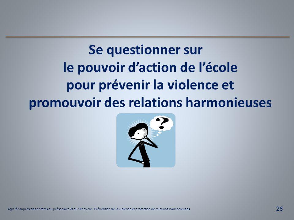 Se questionner sur le pouvoir d'action de l'école pour prévenir la violence et promouvoir des relations harmonieuses