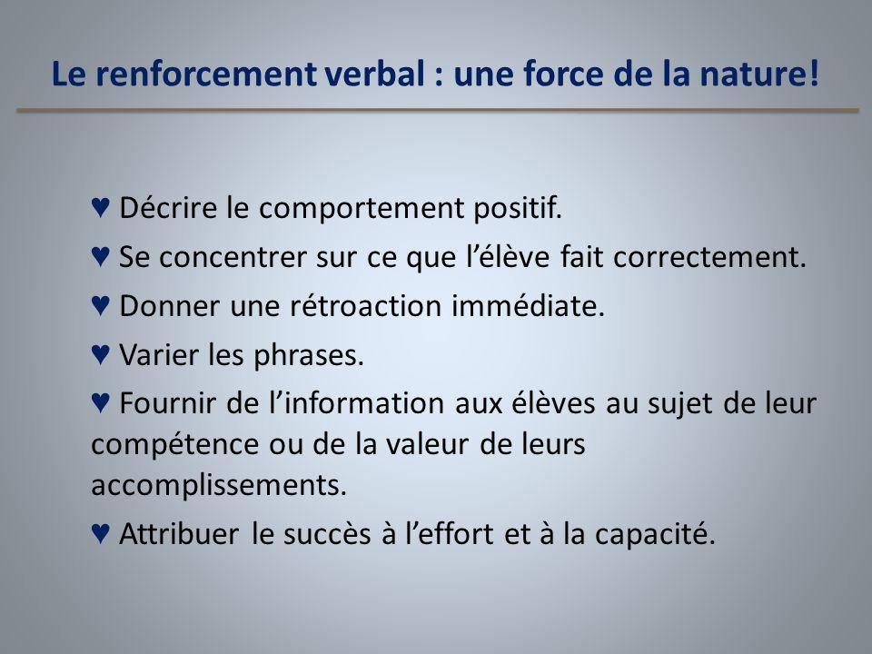 Le renforcement verbal : une force de la nature!