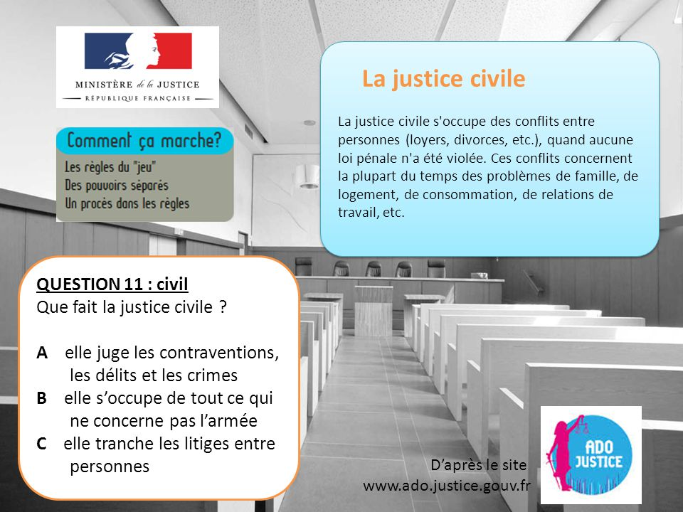 La justice civile QUESTION 11 : civil Que fait la justice civile