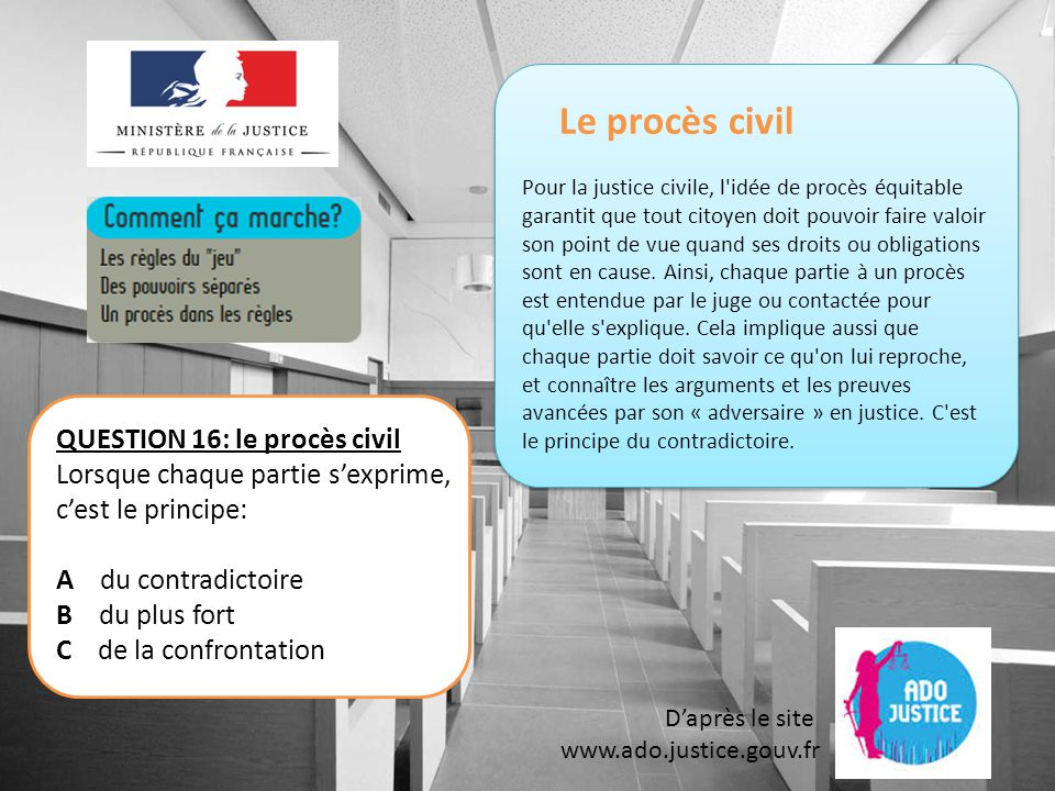 Le procès civil QUESTION 16: le procès civil