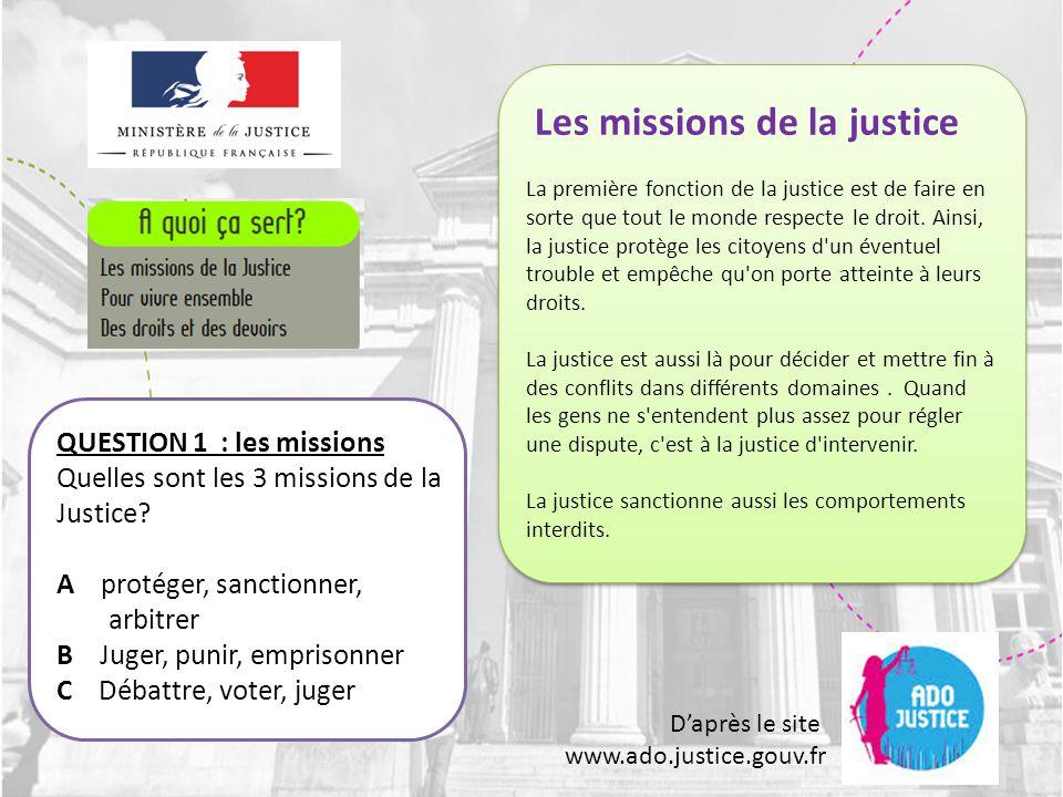 Les missions de la justice