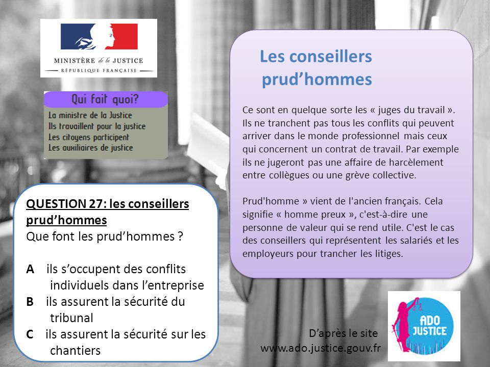 Les conseillers prud'hommes